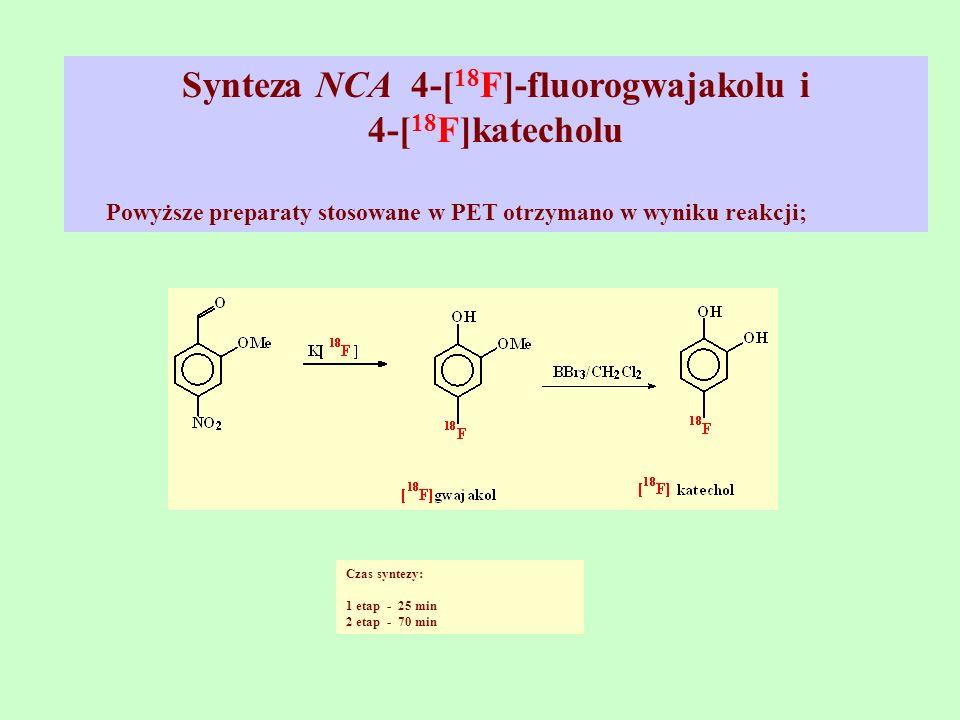 Synteza NCA 4-[18F]-fluorogwajakolu i 4-[18F]katecholu